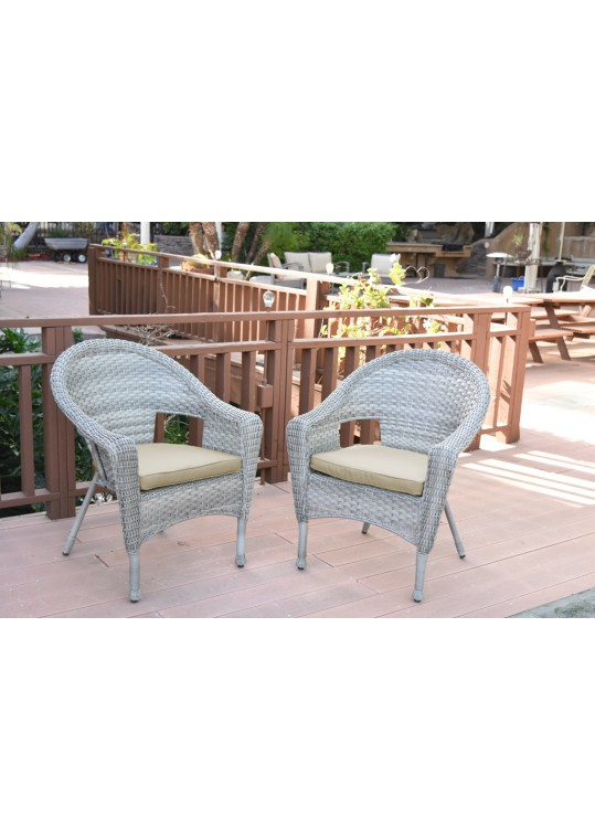 Set of 2 Grey Resin Wicker Clark Single Chair with 2 inch Tan Cushion