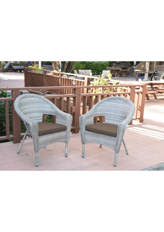 Set of 2 Grey Resin Wicker Clark Single Chair with 2 inch Brown Cushion