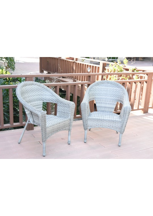 Set of 2 Grey Resin Wicker Clark Single Chair without Cushion