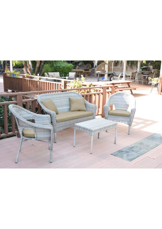 4pcs Grey Resin Wicker Clark Conversation Set with 2 inch Tan Cushion
