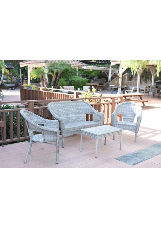 4pcs Grey Resin Wicker Clark Conversation Set without Cushion
