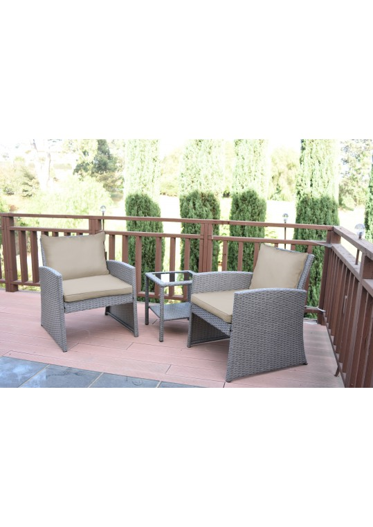 Mirabelle 3 Pieces Bistro Set with 2 Inch Tan Cushion