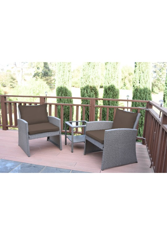 Mirabelle 3 Pieces Bistro Set with 2 Inch Brown Cushion