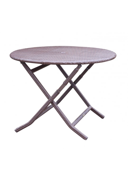 Cafe Round Folding Wicker Table