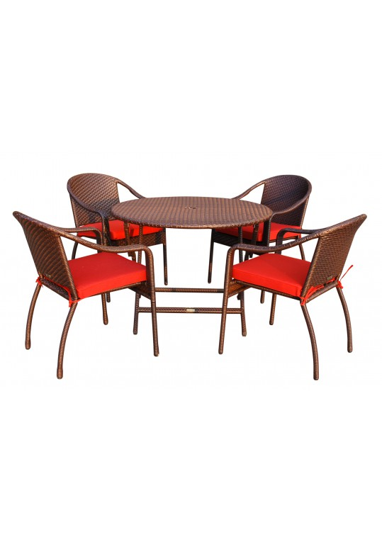 5pcs Cafe Curved Back Chairs and Folding Wicker Table Dining Set - Brick Red Cushions