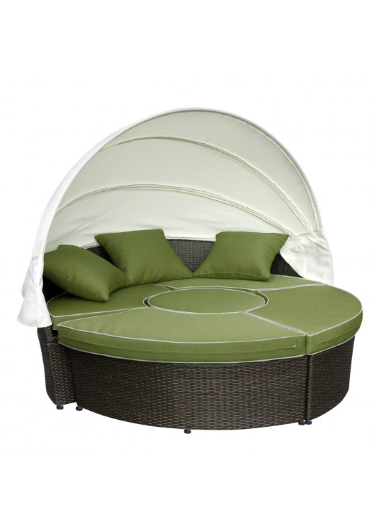 All-Weather Wicker Sectional Daybed - Sage Green Cushions