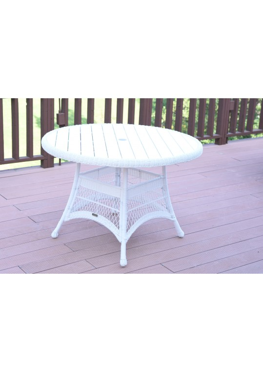 White Wicker 44Inch Round Dining Table with Faux Wood