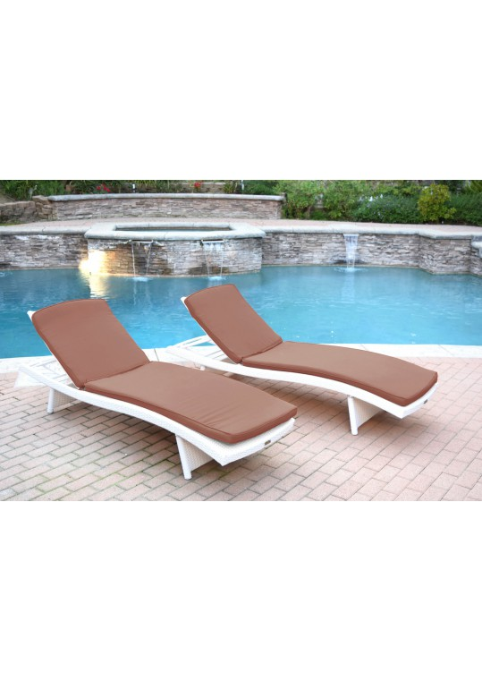 White Wicker Adjustable Chaise Lounger with Brown Cushion - Set of 2