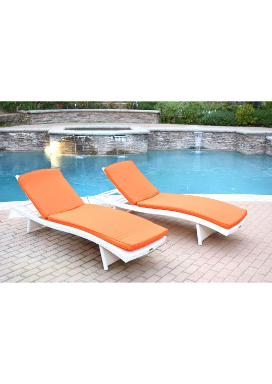 White Wicker Adjustable Chaise Lounger with Orange Cushion - Set of 2