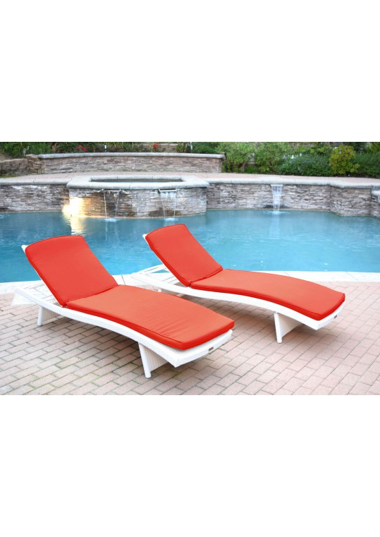White Wicker Adjustable Chaise Lounger with Brick Red Cushion - Set of 2