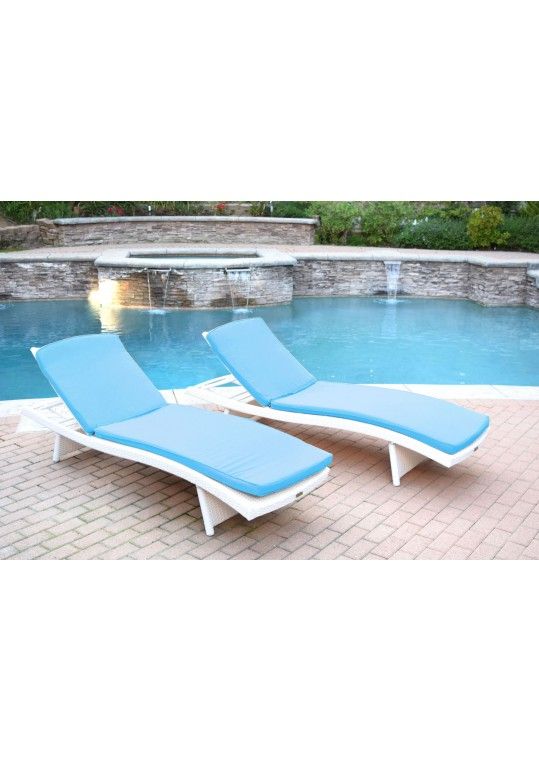 White Wicker Adjustable Chaise Lounger with Sky Blue Cushion - Set of 2