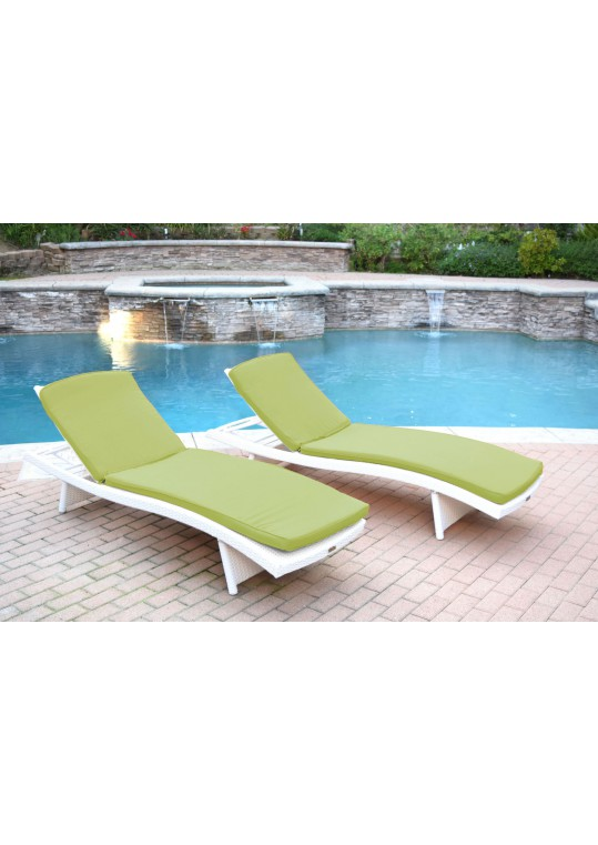 White Wicker Adjustable Chaise Lounger Sage Green Cushion - Set of 2