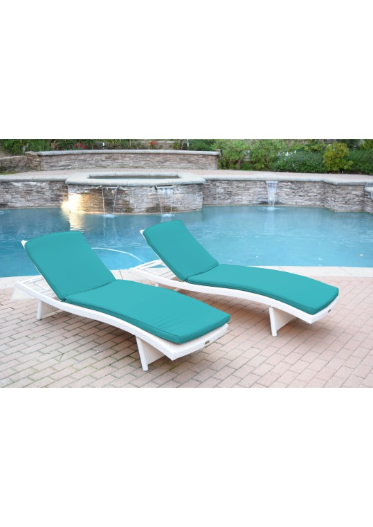 White Wicker Adjustable Chaise Lounger with Turquoise Cushion - Set of 2