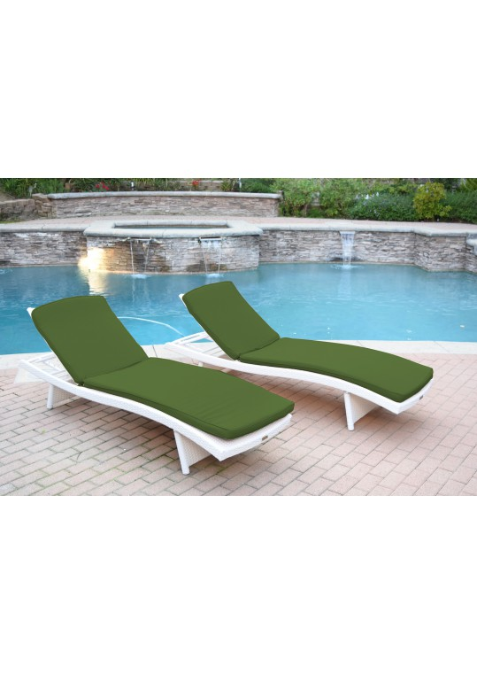 White Wicker Adjustable Chaise Lounger with Hunter Green Cushion - Set of 2