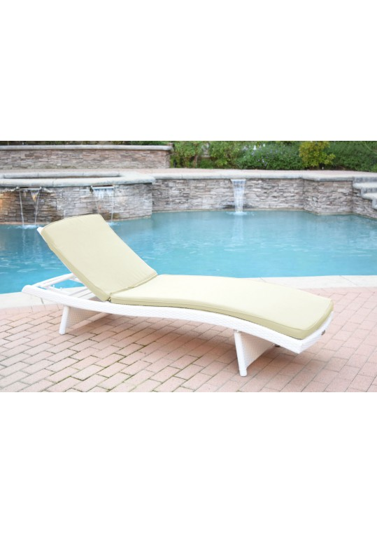 White Wicker Adjustable Chaise Lounger with Tan Cushion