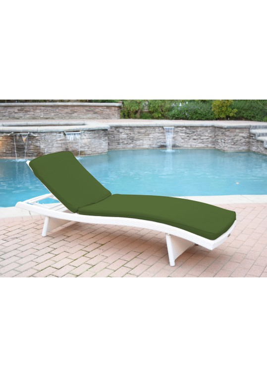 White Wicker Adjustable Chaise Lounger with Hunter Green Cushion